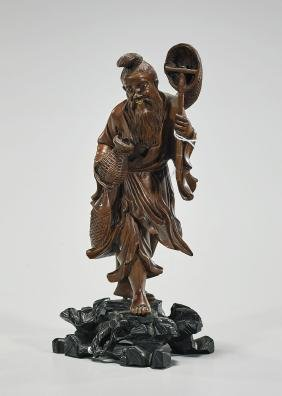 Antique Chinese Carved Wood Fisherman
