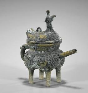 Archaistic Chinese Bronze 'He' Vessel