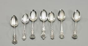 Seven Antique Sterling Silver Teaspoons
