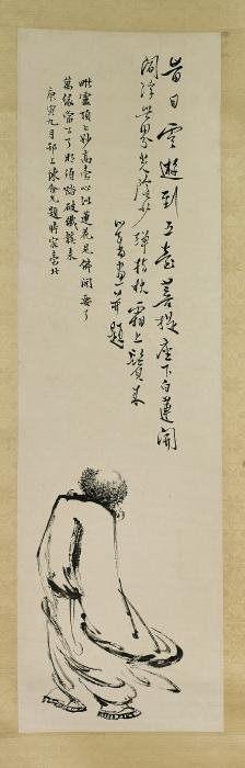 Two Chinese Paper Scrolls: Figure & Blossoms