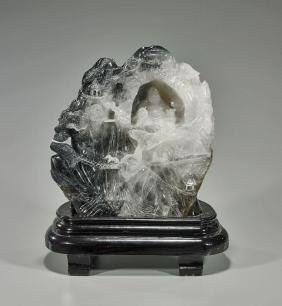 Chinese Carved Rock Crystal Mountain