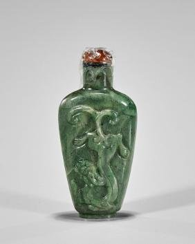 Old Chinese Carved Spinach Jade Snuff Bottle