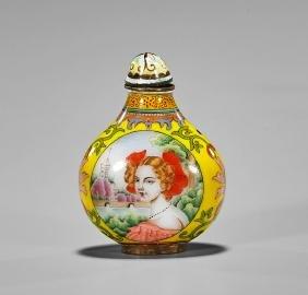 Export-Style Enamel on Copper Snuff Bottle