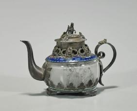 Antique Inside-Painted Glass & Bronze Teapot