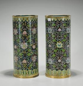Pair Old Chinese Cloisonne Hat Stands