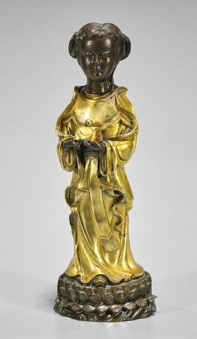 Chinese Parcel-Gilt Bronze Figure