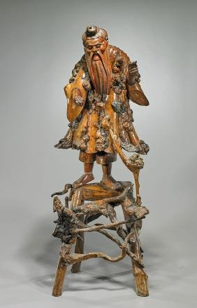 Old Chinese Carved Root Wood Statue