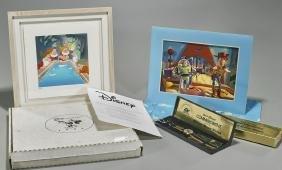 Disney Memorabilia Group: Watch & Lithographs