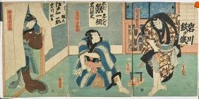 Four Antique Japanese Woodblock Print by Toyokuni III