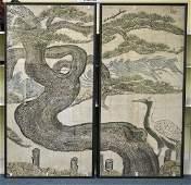 Pair Massive Antique Korean Paintings
