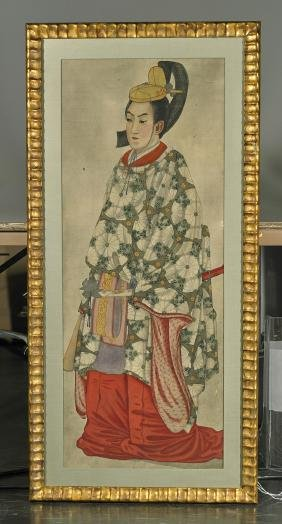Set of Five Old Japanese Portrait Paintings on Silk