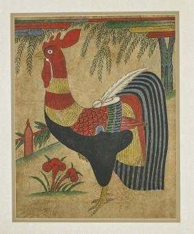 Antique Korean Folk Painting: Rooster