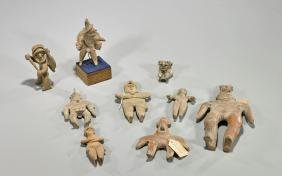 Collection of Nine Pre-Columbian Pottery Figures