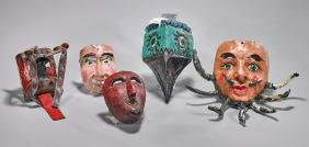 Group of Five Mexican Polychrome Masks