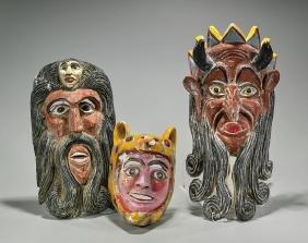 Three Mexican Polychrome Wood Masks