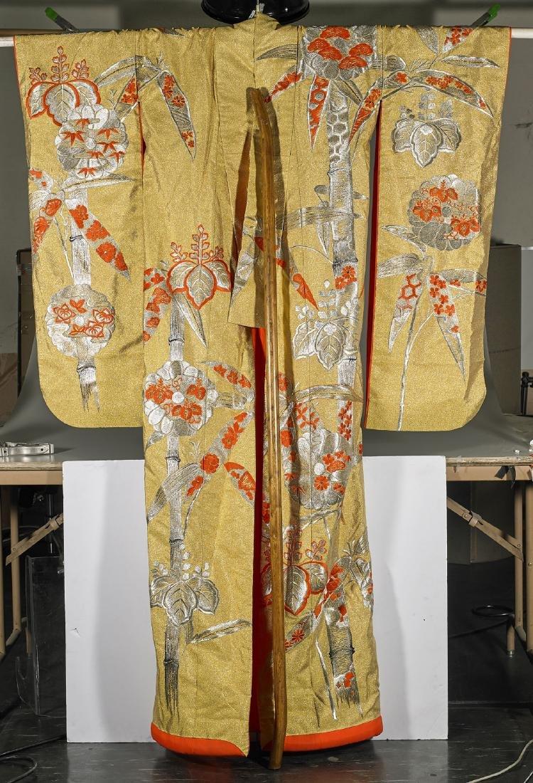 Vintage Japanese Wedding Silk Kimono & Wood Hanger