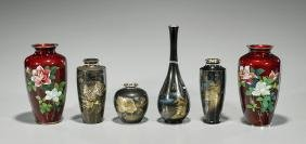 Group of Six Japanese Vases: Cloisonne & Metalwork