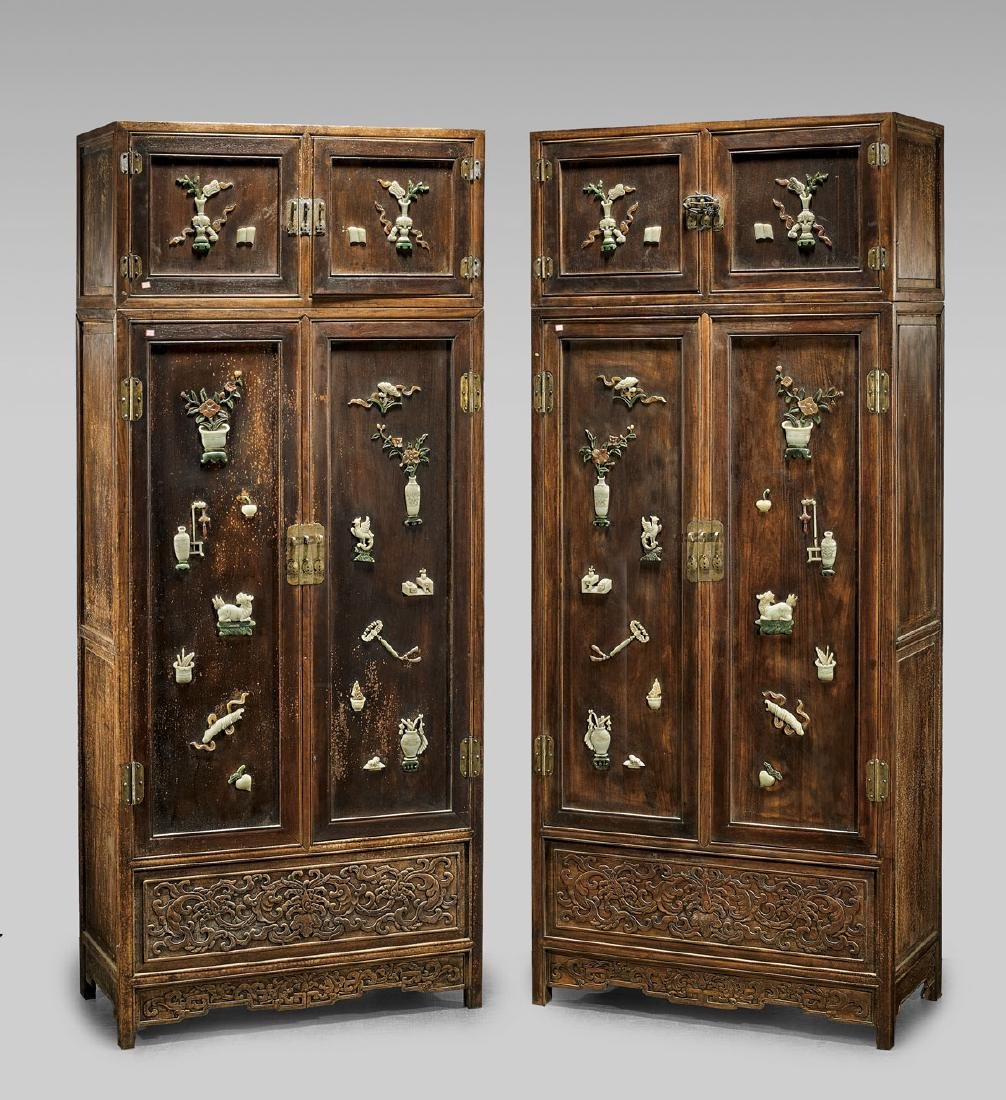 Pair Large Chinese Sectional Cabinets