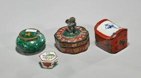 Group of Four Various Covered Boxes
