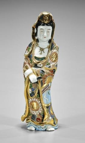 Antique Japanese Kutani Porcelain Figure of Kannon