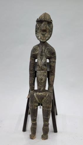 Tall Papua New Guinea Polychrome Wood Figure
