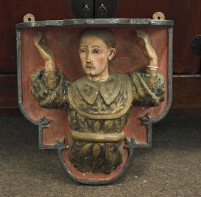 Antique Painted Plaster & Wood Sculptural Corbel