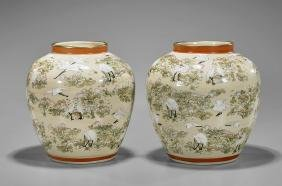 Pair of Antique Japanese Satsuma Jars