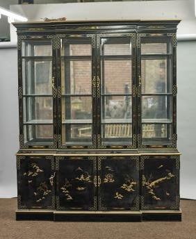 Large Chinese Two-Piece Painted & Lacquered Wood