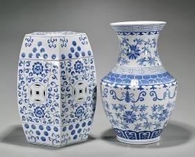 Chinese Porcelain Vase & Garden Seat