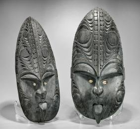 Three Large Papua New Guinea/Sepik Carved Wood Masks