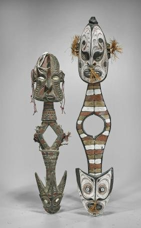 Four Papua New Guinea Carved Suspension Hooks