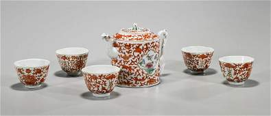 Old Chinese Porcelain Teapot & Cups