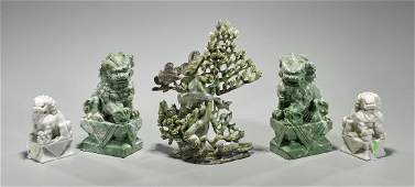 Five Carvings: Fo Lions & Urn
