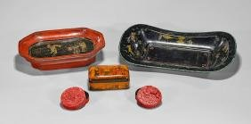 Five Chinese Decorative Items: Boxes & Trays