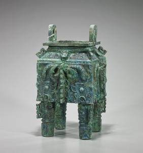 Elaborate Shang-Style Bronze Fang Ding Vessel