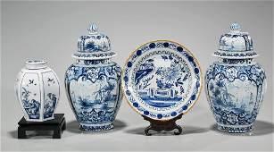 Four Blue & White Porcelain Items