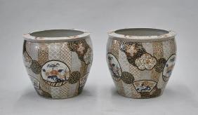 Pair Large Chinese Imari-Style Bowls