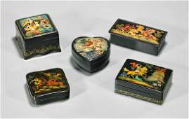 Group of Five Old Russian Lacquer Boxes