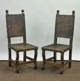 Pair of Old Renaissance-Style Wood Chairs