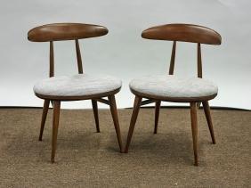 Pair Heywood Wakefield Upholstered Wood Chairs