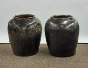 Pair of Large Glazed Pottery Jardiniere