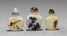 Three Cameo Agate Snuff Bottles: Sages