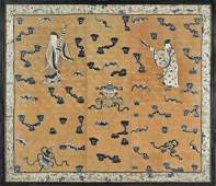 MASSIVE ANTIQUE CHINESE EMBROIDERED SILK PANEL
