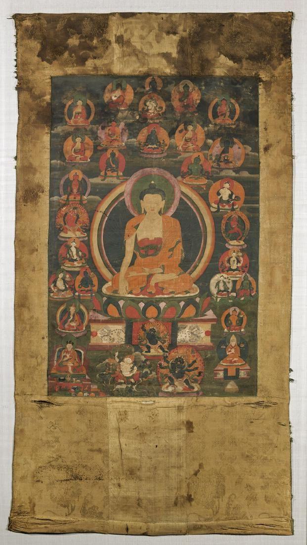 ANTIQUE SINO-TIBETAN THANGKA: Shakyamuni Buddha