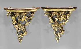 PAIR ROCOCOSTYLE GILT WOOD WALL BRACKETS