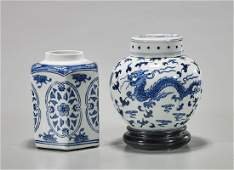 Old Chinese Tea Caddy & Covered Jar
