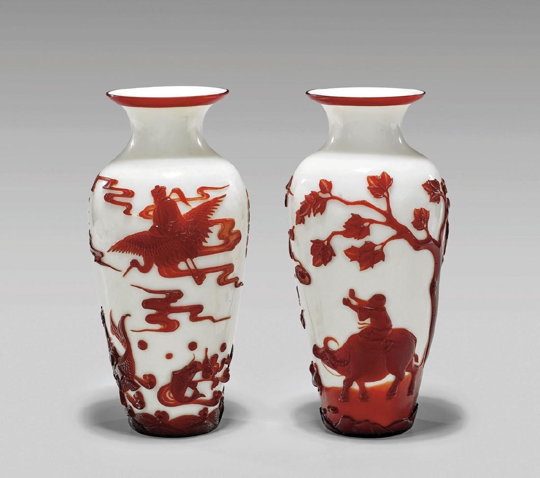 Pair Fine Red Overlay Beijing Glass Vases