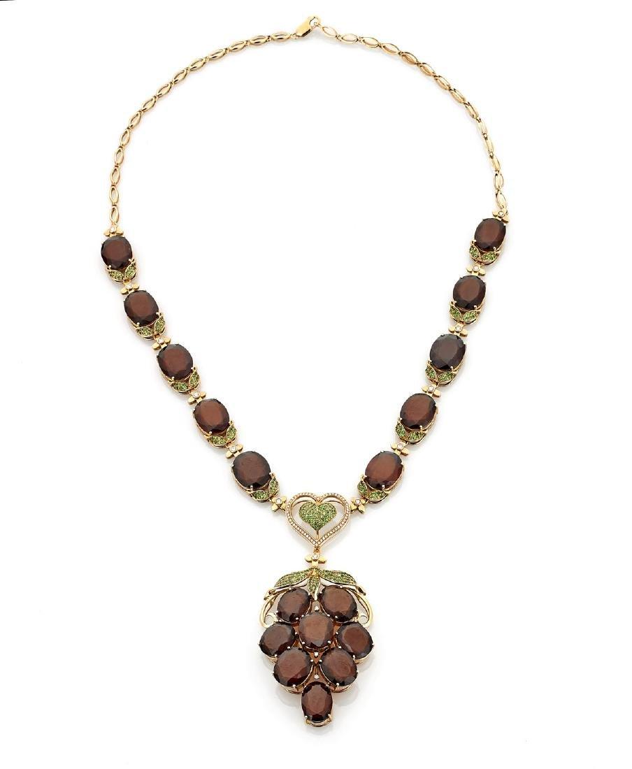 Garnet, Diamond & 18K Rose Gold Necklace
