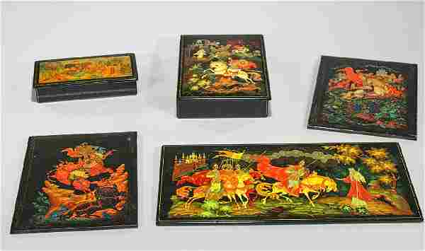 Group of Five Russian Lacquer Boxes & Plaques