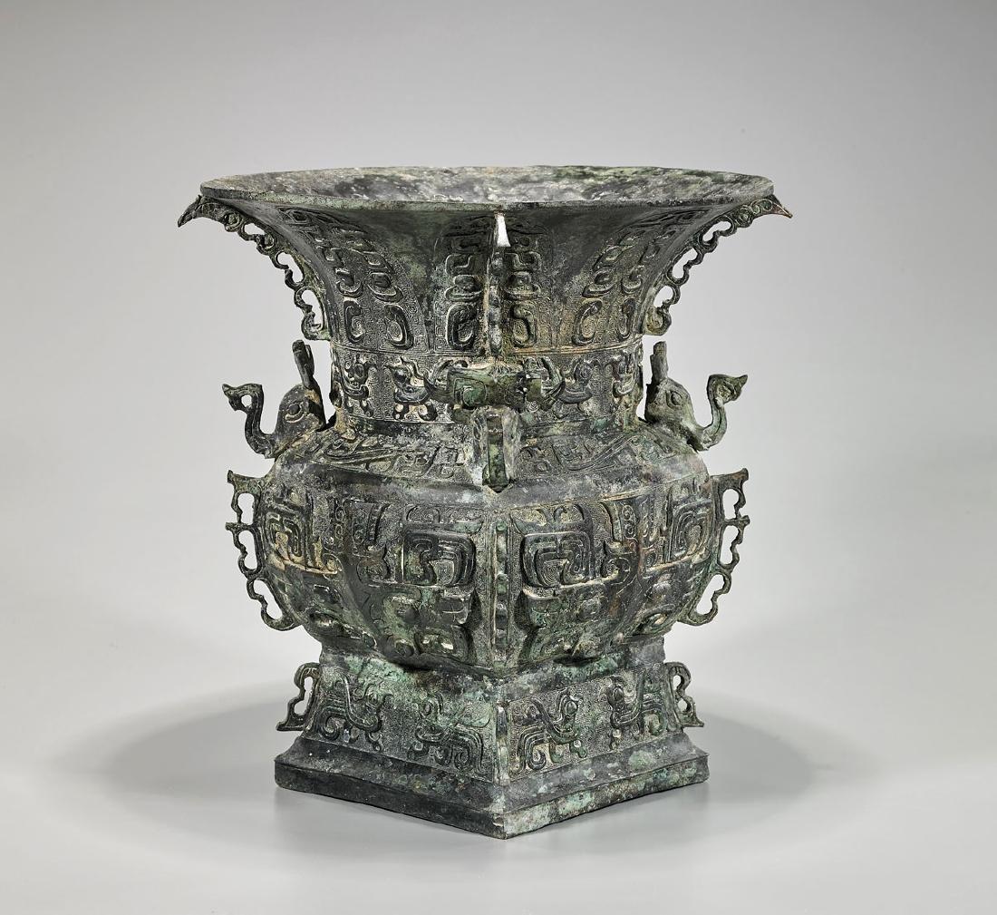Large Zhou-Style Bronze Zun Vessel